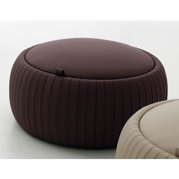 Plisse Small Pouf, Dark Brown Eco-Leather