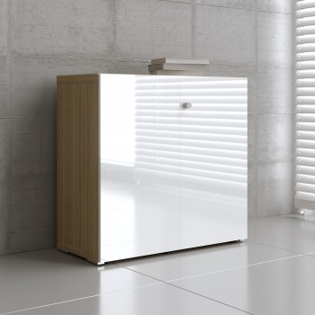 Mito 2-Door Storage MIT21, Light Sycamore + White High Gloss