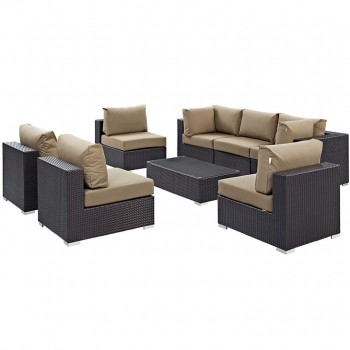 Convene 8 Piece Outdoor Patio Sectional Set, Сomposition 3, Espresso, Mocha by Modway