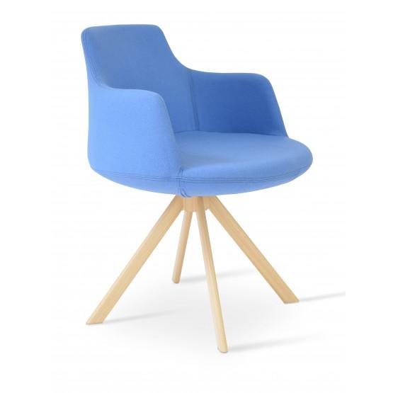 Dervish Sword Dining Chair, Natural Veneer Steel, Sky Blue Camira Wool photo