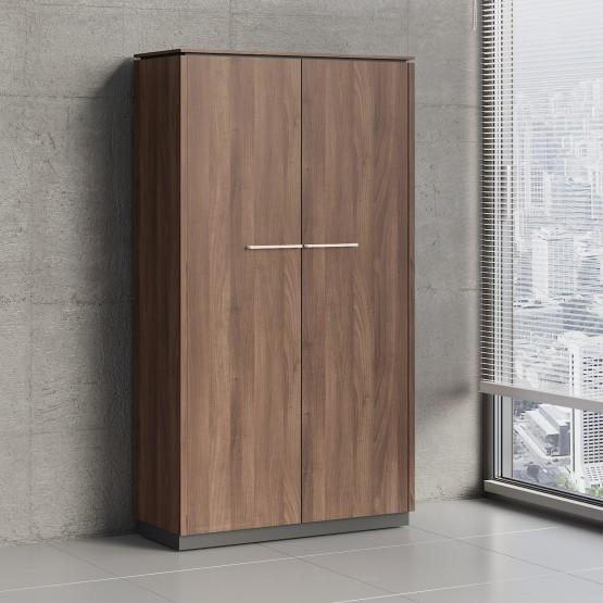 Status 2 Door Wardrobe/Storage Cabinet w/Slide Out Hanger X52, Lowland Nut photo