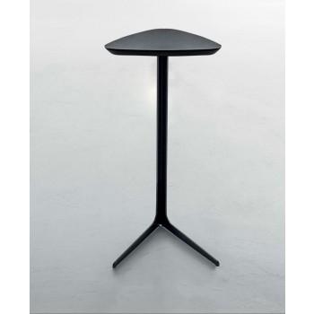 Celine Side Table, Matt Black Metal Base, Matt Black Wood Top