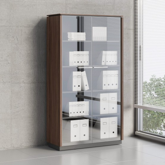 Status 2 Glass Door Storage Cabinet X55, Lowland Nut photo
