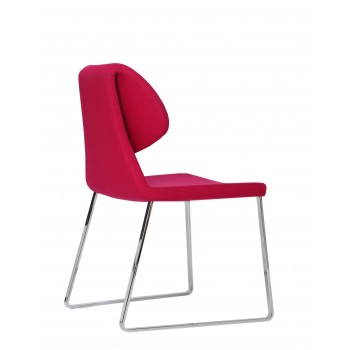 Gakko Sled Chair, Chrome, Pink Wool by SohoConcept Furniture