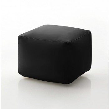 Truly Small Pouf, Black Eco-Leather