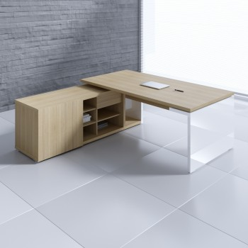 Mito Executive Desk w/Managerial Side Storage MIT1, Light Sycamore + White High Gloss