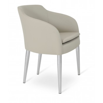 Buca Metal Armchair, Light Grey Leatherette by SohoConcept Furniture
