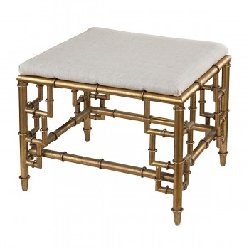 Tunbridge Stool With Bamboo Frame In Gold Leaf And Linen Seat