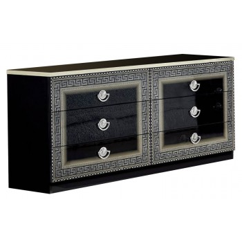 Aida Double Dresser, Black + Silver