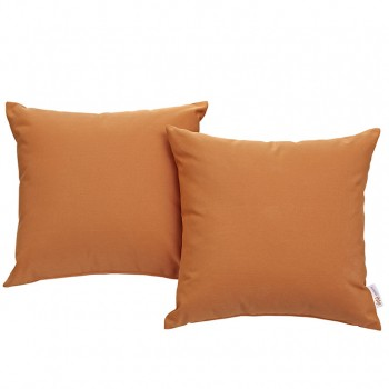 Convene Two Piece Outdoor Patio Pillow Set, Espresso, Orange by Modway