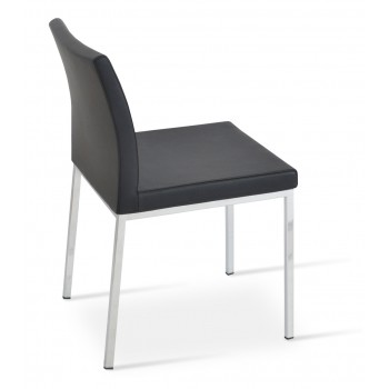 Aria Dininng Chair, Chrome Base, Black Genuine Leather by SohoConcept Furniture