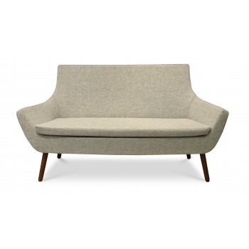 Rebecca Wood Two Seater, Walnut Finish, Silver Camira Wool by SohoConcept Furniture