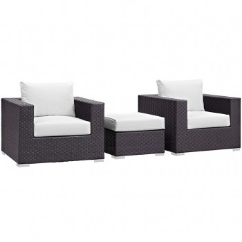 Convene 3 Piece Outdoor Patio Sectional Set, Espresso, White by Modway