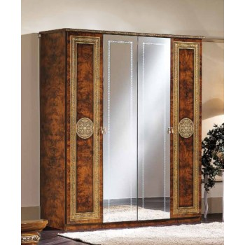 Alexandra 4-Door Wardrobe w/Mirror, Walnut