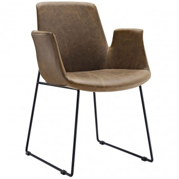 Aloft Dining Armchair, Brown by Modway