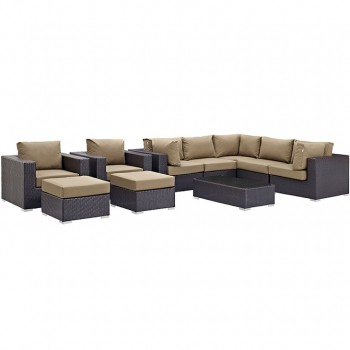 Convene 10 Piece Outdoor Patio Sectional Set, Espresso, Mocha by Modway