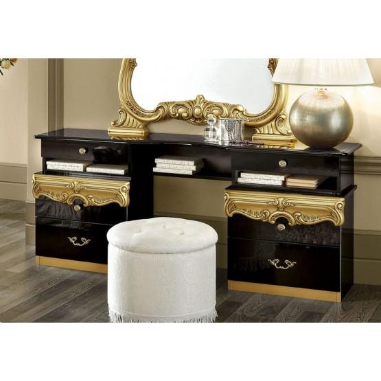 Barocco Vanity Dresser, Black + Gold photo