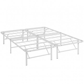 Horizon Full Stainless Steel Bed Frame, White by Modway