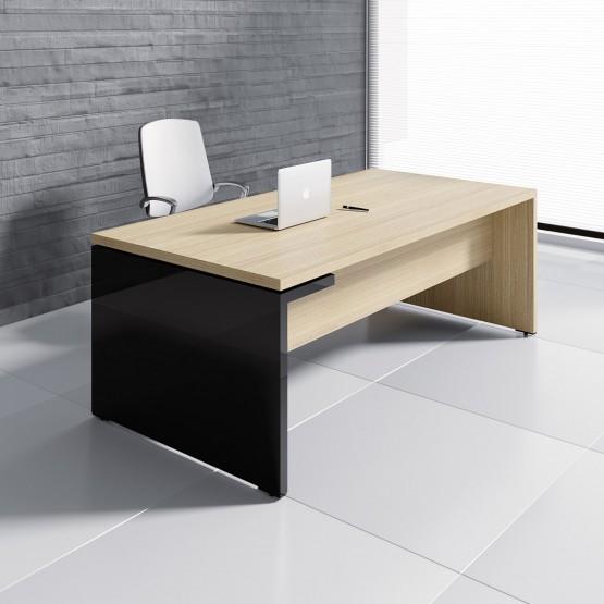 Mito Executive Desk MIT3, Light Sycamore + Black High Gloss photo