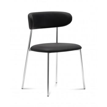 Anais Chair, Chromed Legs + Skill Black PU
