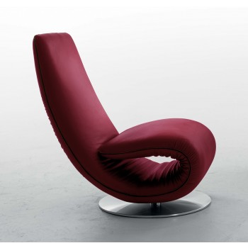 Ricciolo Chaise Lounge, Burgundy Red Leather