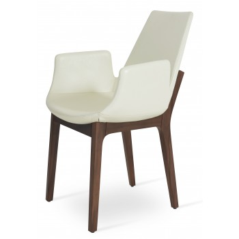 Eiffel Arm Wood Chair, American Walnut, Off White PPM by SohoConcept Furniture