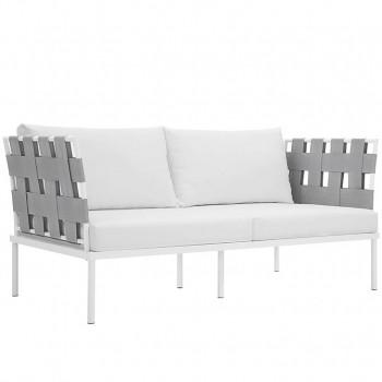 Harmony Outdoor Patio Aluminum Loveseat, White, White by Modway