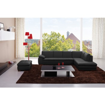 625 Italian Leather Sectional, Right Arm Chaise Facing, Black by J&M Furniture