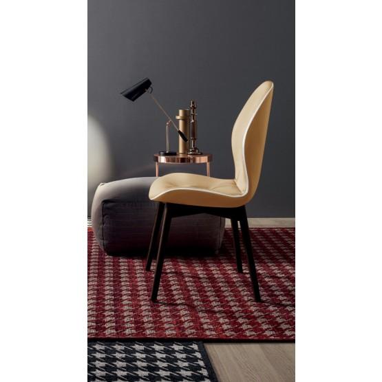 Sorrento Dining Chair, Dark Oak Heat-Treated Wood Base, Desert Grain Leather Upholstery, White Creasing photo