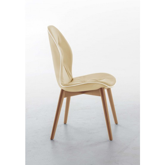 Sorrento Dining Chair, Natural Oak Wood Base, Cream Eco-Leather Upholstery, White Creasing photo