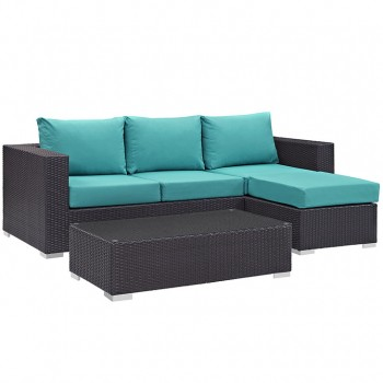 Convene 3 Piece Outdoor Patio Sofa Set, Espresso, Turquoise by Modway