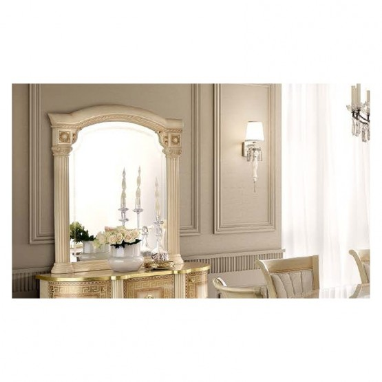 Aida Large Mirror, Ivory + Gold photo
