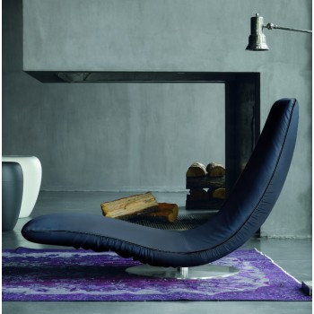 Ricciolo Chaise Lounge, Blue Eco-Leather