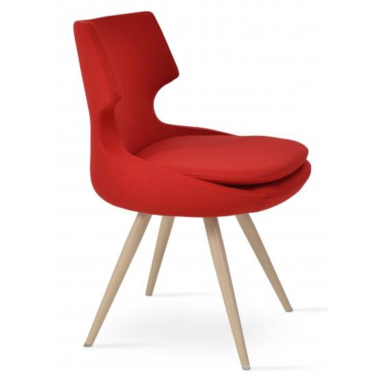 Patara Star Dining Chair, Natural Veneer Steel, Red Camira Wool photo