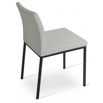 Aria Dininng Chair, Black Powder Base, Light Grey Leatherette by SohoConcept Furniture