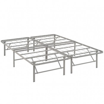 Horizon Queen Stainless Steel Bed Frame, Gray by Modway