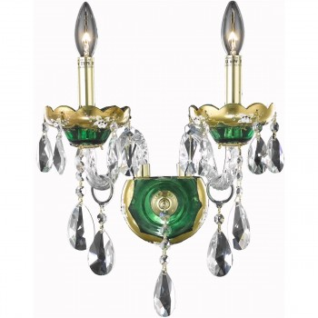 "Alexandria 2-Light 12"" Green Wall Sconce in Swarovski Strass"