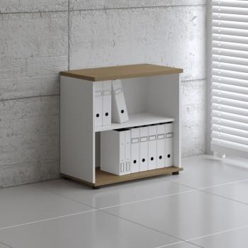 Basic K2504 Open Storage, White + Canadian Oak