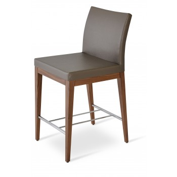 Aria Wood Bar Stool, Solid Beech Walnut Color, Golden PPM by SohoConcept Furniture