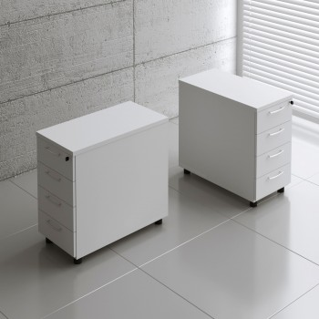 Basic KKT74 Fixed Pedestal w/4 Drawers, White