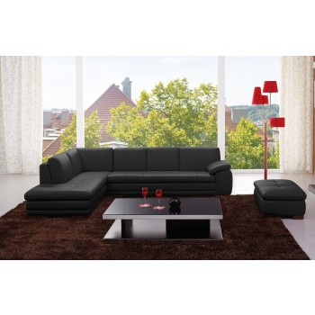 625 Italian Leather Sectional, Left Arm Chaise Facing, Black by J&M Furniture
