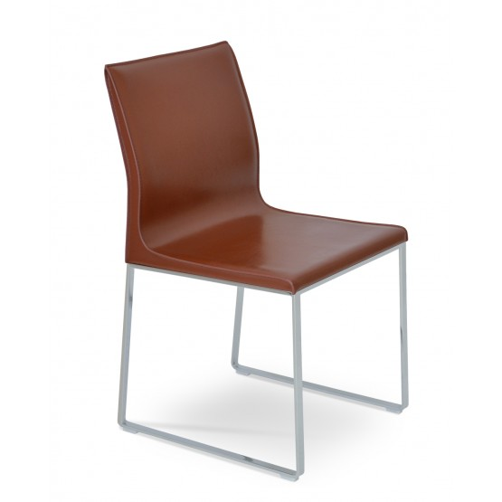 Polo Sled Dining Chair, Chrome, Light Brown Bonded Leather photo