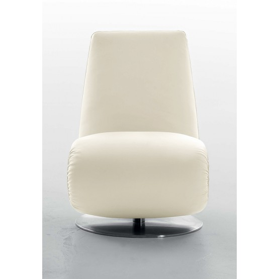 Ricciolo Chaise Lounge, Cream Leather photo
