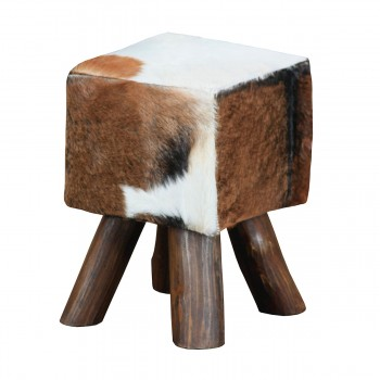 Ilford Small Square Mahogany Stool With Natural Stain Finish