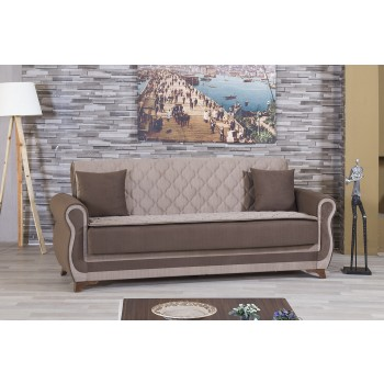 Luxmark Sofa, Sarp Dark Beige & Brown by Casamode
