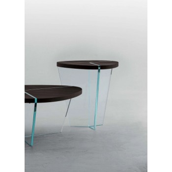 Aida Side Table, Clear Transparent Glass Base, Heat-Treated Dark Oak Wood Top