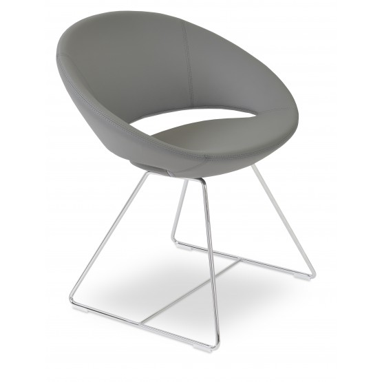 Crescent Wire Chair, Chrome, Grey PPM, Large Seat photo