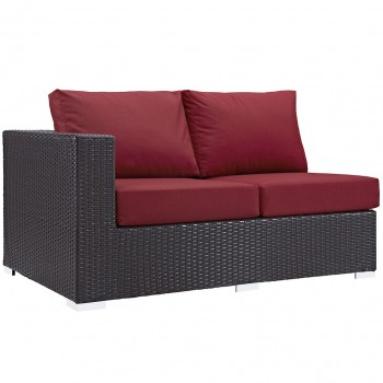 Convene Outdoor Patio Left Arm Loveseat, Espresso, Red by Modway