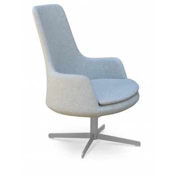 Dervish Lounge High Back 4 Star Armchair, Silver Camira Wool by SohoConcept Furniture
