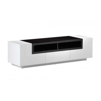 TV Stand 002 in White High Gloss & Dark Oak by J&M Furniture